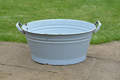 51.5 cm - old enamelled enamel washing bowl shabby bath chic -  FREE POSTAGE