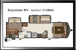 Keystone RV Sprinter 313BHS Moose Jaw Regina Area image 2
