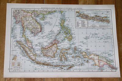 1894 ANTIQUE MAP OF INDONESIA / VIETNAM THAILAND SINGAPORE MALAYSIA BORNEO on Rummage