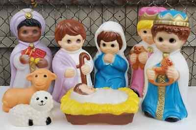 Vintage Christmas Blowmold Child Children Nativity Scene Holy Family Wisemen Set