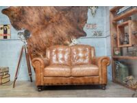 Vintage Leather 2 Seater Sofa Tan Studs