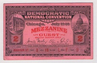 1940 CHICAGO DEMOCRATIC NATIONAL CONVENTION DNC FRANKLIN D ROOSEVELT FDR TICKET