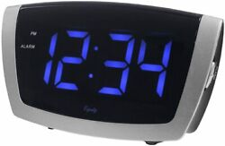 Equity by La Crosse 75904  LED Blue Digit Alarm Clock with USB Charging Port NEW