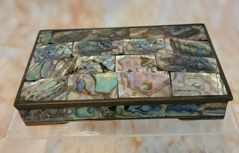 """VINTAGE MEXICAN BRASS & ABALONE SHELL JEWELRY BOX-REDWOOD LINED - 5.5X3.15X1.25"""""""
