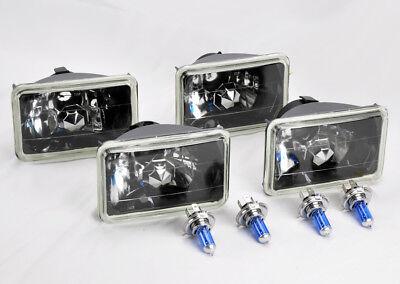 "FOUR 4x6"" Halogen H4 Glass Black Chrome Headlights Conversion Bulbs GMC"