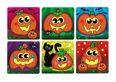 12 Pumpkin Jack-O-Lantern Halloween Stickers Kid Party Goody