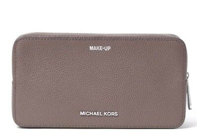 NWT Michael Kors Mercer Leather Charitable Double Zip Make Up Bag Case Pouch Cinder