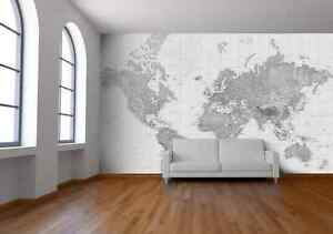black and white world map wallpaper map mural printed in england new ebay. Black Bedroom Furniture Sets. Home Design Ideas
