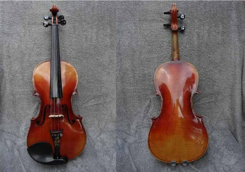 EARLY 1900s C BRUNO E. MARTIN? SACHEN GERMANY MOP INLAID & ETCHED 4/4 VIOLIN