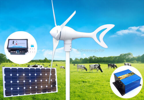 1500 W 12 V DC Wind Turbine Generator+Charge Controller + Solar Panel Kit