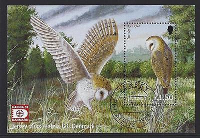 Jersey 2001 Aves de Rapiña Hoja Miniatura con Resello Hafnia Fino Usado image