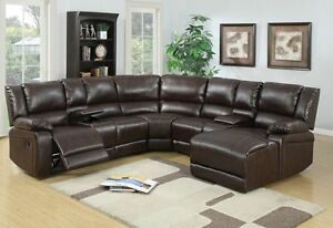 5 pc brown bonded leather reclining sofa recliner sectional furniture set espres
