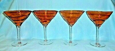Pier 1 Hand Blown Orange And Red Swirl Twist Martini Margarita Glasses..Set Of 4](Orange Martini Glasses)