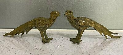 Vintage brass pair of Pheasants