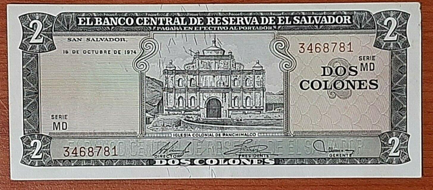 EL SALVADOR 2 COLONES SCARCE DATE 15 OCT 1974 XF SERIE MD - $22.00