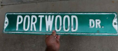 "VINTAGE AUTHENTIC HEAVY PORTWOOD DRIVE STREET NAME EMBOSSED METAL SIGN  30"" X 6"""