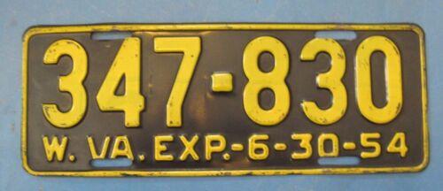 1954 West Virginia License Plate