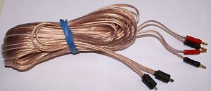 Bang Olufsen Type Speaker Cables 2Pin DIN Male - Gold Banana Plugs 30ft Pair NW