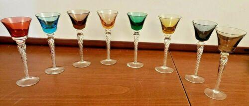 Set of 8 Blenko Mid-Century Art Glass Air Twist Multi-Colored Cordials Aperitifs