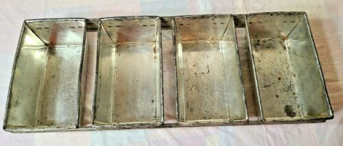 Vintage 4-Loaf Small Bread/Cake Pan Bakery Style Folded Metal Spot Welded Rails!