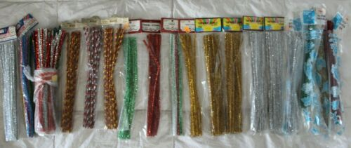 VINTAGE LOT OF 350+ CHENILLE PIPE CLEANER STEMS TINSEL RED GOLD SILVER & MORE!