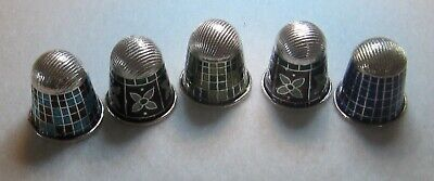 LOT OF 5 STERLING SILVER THIMBLES MADE IN INDIA - NEW