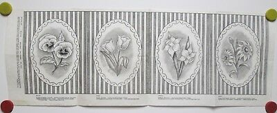 Vtg Tri Chem Picture to Paint Felt USA Poster Pansies Tulips Daffodils Daisies