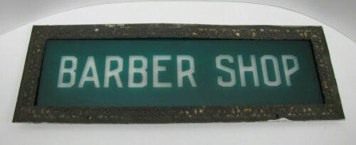 BARBER SHOP Ornate Antique Sign Rare Green Overlay Frosted Glass Bronze Frame