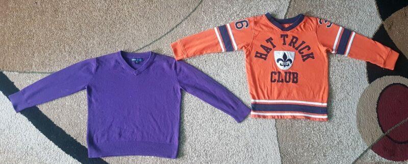 Lot Of 2 Boys Sweater Tee Gapkids Carters Purple Orange Size 4-5