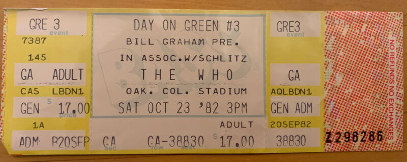 Unused 1982 THE CLASH Who DAY ON THE GREEN OAKLAND CA CONCERT TICKET STUB 10/23