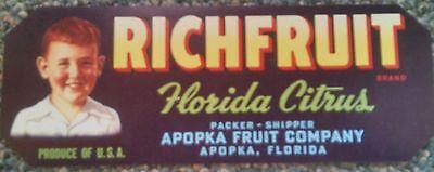 RICHFRUIT ORANGE CRATE LABEL FLORIDA STRIP APOPKA 1930S ORIGINAL VINTAGE SCARCE