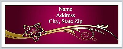 Personalized Address Labels Red Gold Flower Buy 3 Get 1 Free P 603