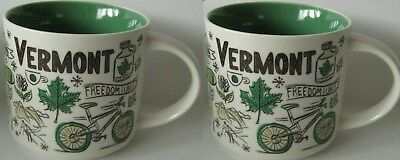 SET OF 2 Vermont Starbucks Mugs Coffee Cups Been There Series  New in Box 14 oz