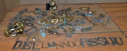 17 lbs brass hardware letters door knobs brackets plumbing collectible parts lot