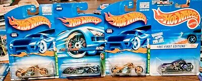 Hot wheels motorcycle Treasure Hunt Lot Of 3+1997 First Edition free shipping.