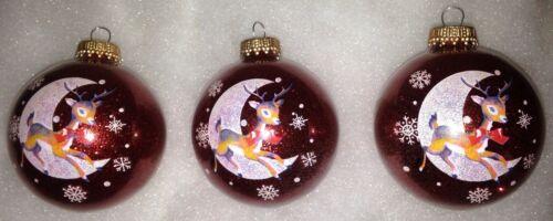 Christmas Tree Ornaments Krebs REINDEER 3 Glass Flying Past Crescent Moon