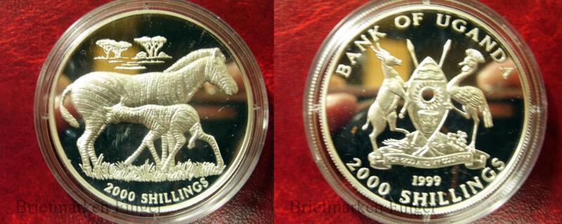 1999 Uganda Large Silver Proof 2000 shillings- Zebra