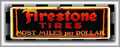 FIRESTONE TIRES NEON STYLE BANNER GARAGE SHADOWBOX ART SIGN MURAL LARGE 2' X 5'