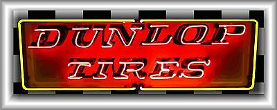 DUNLOP TIRES NEON STYLE BANNER GARAGE SHADOWBOX ART SIGN MURAL LARGE 2