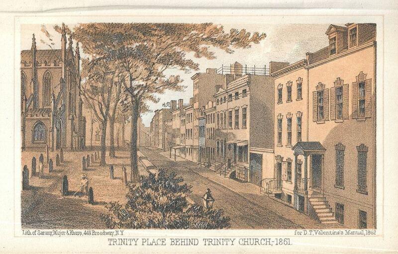 1862 Valentine View of Trinity Church (Financial District), New York City