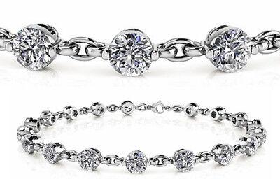 5.10 ct GIA Round Diamond Tennis Bracelet 17 x 0.30 ct 14k White Gold E-F VVS/VS