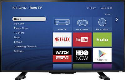 """Insignia- 39"""" Class (38.5"""" Diag.) - LED - 1080p - Smart - HDTV Roku TV - Black"""