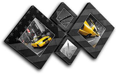 New York Yellow Taxi Flag  City MULTI Leinwand Wand Kunst Bild drucken New York, New York City Flag