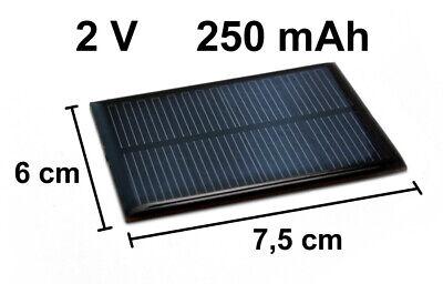 Solarzelle 2V 250mAh NEU Solar Zelle Solarmodul Solarpanel 7,5cm x 6cm