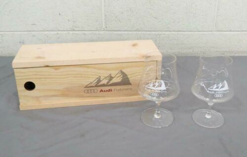 (2) Audi Flatirons Fine Stem Beer Glasses w/Wooden Box Satisfaction Guaranteed