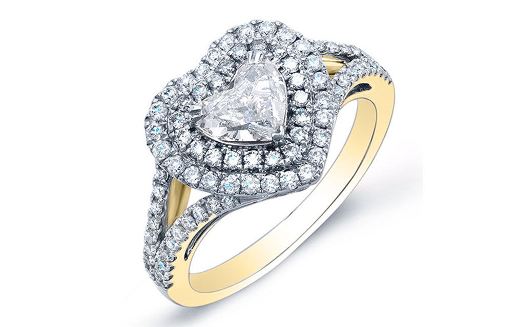 2.4ctw Heart Cut Double Halo Split Shank Pave Diamond Engagement Ring - GIA 1
