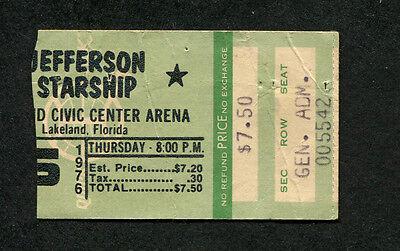 Original 1976 Jefferson Starship Concert Ticket Stub Lakeland Florida