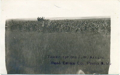 Rppc   Philip South Dakota   Car In Field For F H Arnold Real Estate Co C1910