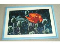 Wonderful Large Framed Original Painting of Poppies by Scottish Lady Artist from 1995