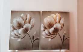 2 Large flower Canvas measurements are 60cm by 80cm des unit wall draw warbr ches